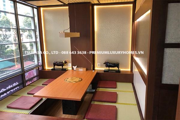 Thi công giấy dán tường và film dán nội thất tại Nhà hàng Nhật Bản Quận 1